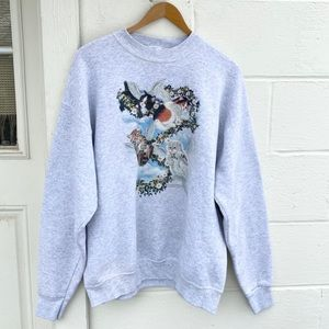 Vintage Oversized Cat Angel Crewneck Sweatshirt
